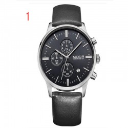 megir chronographe noir bracelet en cuir véritable montre d'affaires d'or quartz