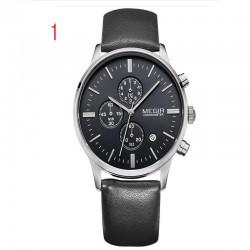 megir хронограф черный кожаный ремешок золото бизнес-часы кварцевые