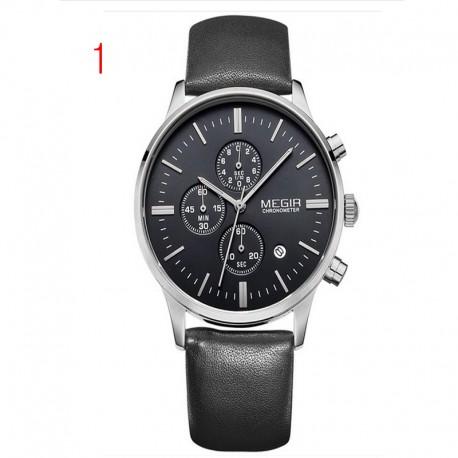 megir chronograaf zwart lederen band gouden zaken horloge quartz