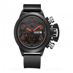 megir helt svart silikon militär klockor analog visning datum kronograf sportklockan