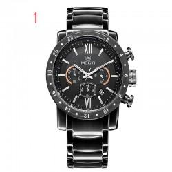 megir chronograaf 24 uur functie sport horloges zakelijke horloges roestvrij staal mannen