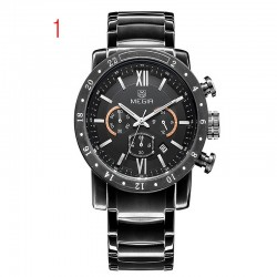 megir cronograf 24 de ore funcția de sport ceasuri de afaceri ceasuri bărbați din oțel inoxidabil