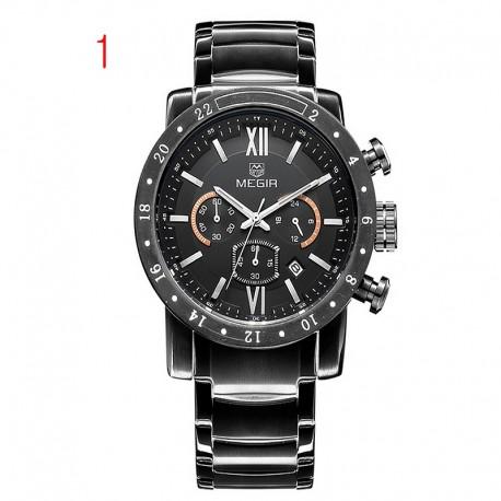 megir Chronograph 24 valandų funkcija sporto laikrodžiai verslo laikrodžiai nerūdijančio plieno vyrams
