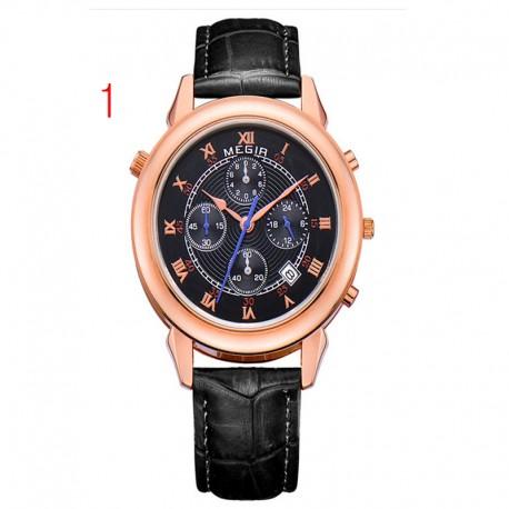 megir muži gold watch luxusní designový chronograf 24 hodin business watch 2 pohyb pravé kůže