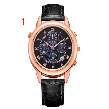 megir vyrai aukso laikrodis prabangus dizainas Chronograph 24 valandas verslo laikrodis 2 judėjimas natūralios odos