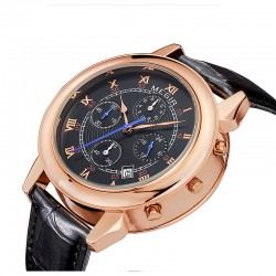 megir men gold watch luxury design chronograph 24 hours business watch 2 movement genuine leather