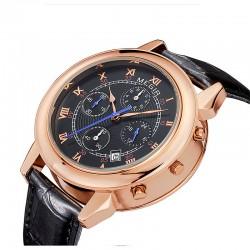 megir menn gullur luksuriøst design chronograph 24 timer virksomhet klokken to bevegelse ekte skinn