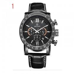 γνήσιο δέρμα megir ρολόγια άνδρες μάρκα πολυτελείας χρονογράφου 24 ώρες στρατιωτική ωρολογοποιίας