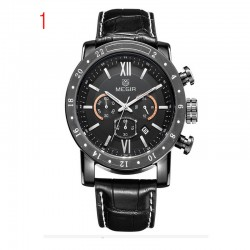 megir genuine leather watches men luxury brand chronograph 24 hours military watch-