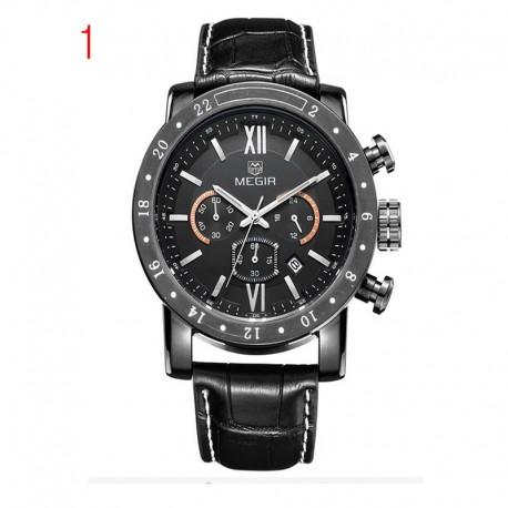 megir echt leder horloges mannen luxemerk chronograaf 24 uur militaire horloge-