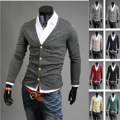 men's basic simple 4 button cardigan sweater