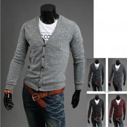 menns gjæring 5 knapp cardigan genser
