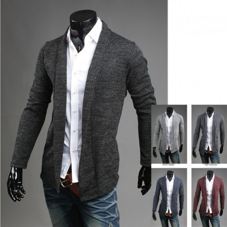 mænds sjal collr cardigan sweater mid