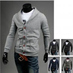 sztruks koronkowym kołnierzem sweter 2 kieszeni męskiej