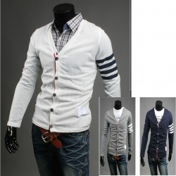 men's cardigan left sleeve 4 line stripe