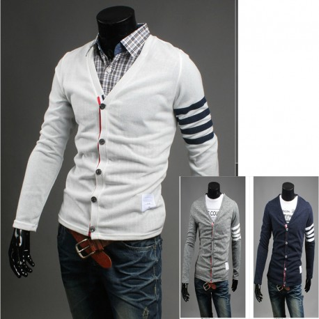pánsky sveter ľavom rukáve 4 linka prúžok
