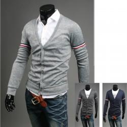 męski sweter obydwa potrójną linię