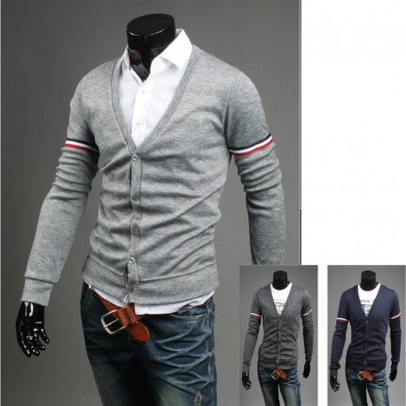 men's cardigan both arms triple line