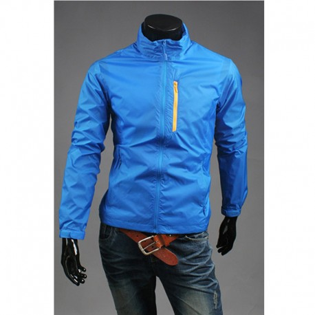 hi neck unique breast zipper men's windbreaker jacket