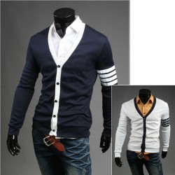 men's cardigan single sleeve 4 line