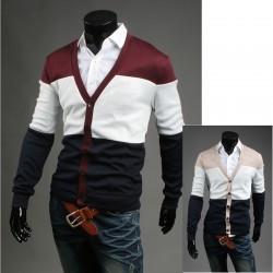för män cardigan 3 färg dandy tröja