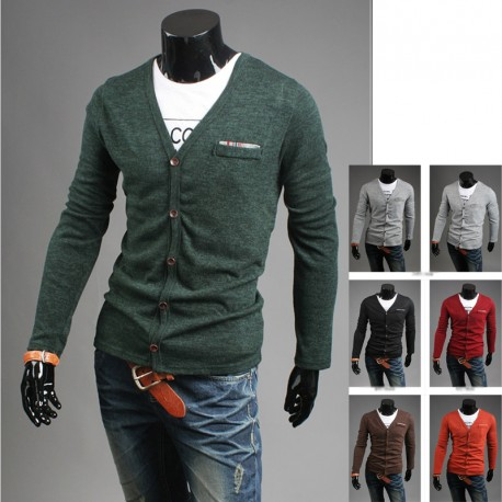 men's cardigan check handkerchief light