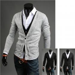 pulover dublu cardigan pentru bărbați