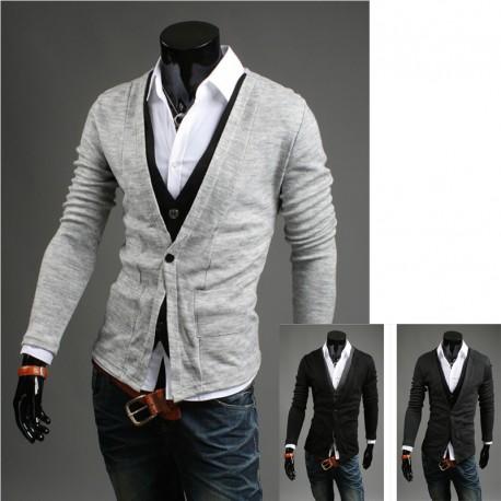férfi kardigán pulóver kettős