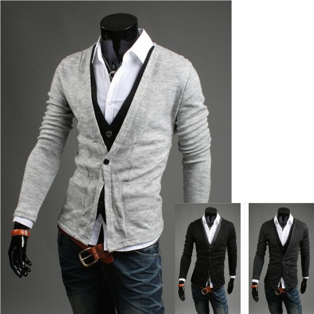 men's cardigan dual sweater