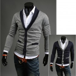 men's cardigan shawl collar Y line