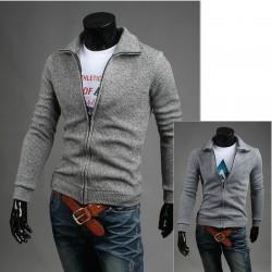 menns cardigan zip opp strikke strikke garn