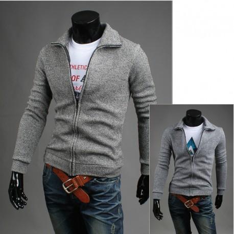 mænds cardigan lynlås op strik garn strikning