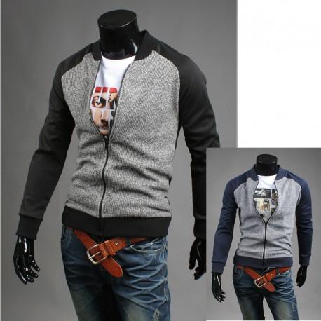 men's cardigan knit baseball mix jacket