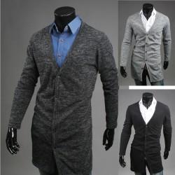 mænds lange cardigan frakke