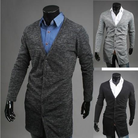 men's long cardigan coat