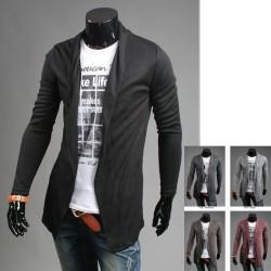 Heren lange shawl vest