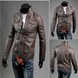 giacca di pelle doppia tasca del seno maschile