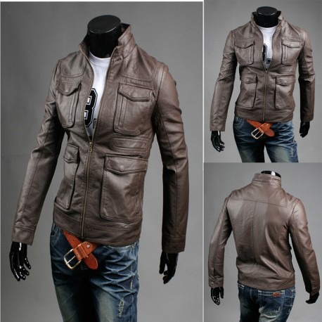 men's leather jacket double breast pocket