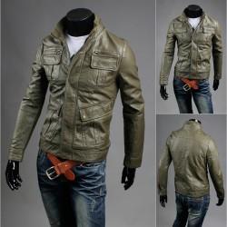 jacheta din piele de buzunar dublu piept pentru bărbați