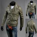 vīriešu ādas jaka dubultā krūts maku kabatā
