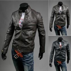 veste en cuir à double poitrine zippée poche pour hommes