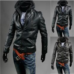 giacca di pelle doppia cerniera lunga con cappuccio da uomo