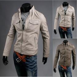 Jacheta din piele cu guler de spălare fisura cal de curse pentru bărbați