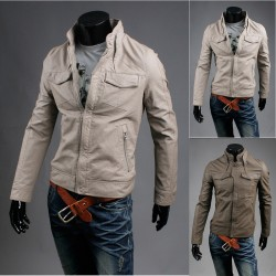 men's leather jacket crack wash racer collar