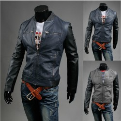 men's leather jacket unbalance black sleeve