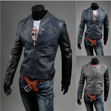 vīriešu ādas jaka disbalanss melns sleeve