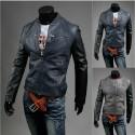 veste en cuir des hommes balourd manchon noir