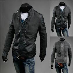 men's leather jacket wool coat mix