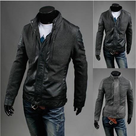 vīriešu ādas jaka vilnas mētelis mix