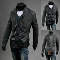 men's leather jacket wool coat mix